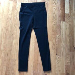 HUE black leggings with vegan leather detailing